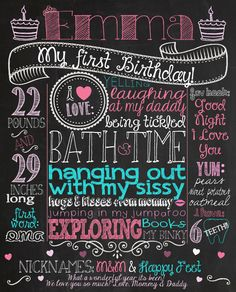 Pink and Turquoise Printable Chalkboard Birthday Poster for girl's first birthday