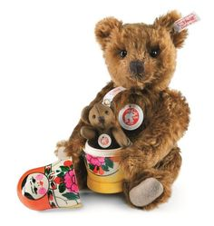 The Steiff Matryoshka Teddy Bear is a must for any collection. Made with the brass plated button in ear.