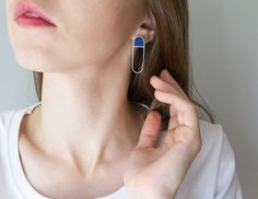 Stud Earrings – Sterling Silver Earrings / Silver and Wood Earring – a unique product by tanuk on DaWanda