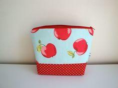 Cotton Wash bag - Toiletries bag - red apples £10.00