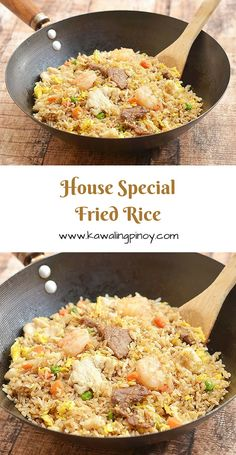 House special fried rice is a popular rice dish consisting of generous portions of shrimps beef and chicken along with the customary scrambled eggs and vegetables; learn the simple technique which turns this hearty one pot meal from good to ultra special! Cooking Wine, Asian Cooking, Rice Dishes, Food Dishes, Fried Rice With Egg, Beef Fried Rice, Shrimp Fried Rice, Chinese House Fried Rice Recipe, House Special Fried Rice Recipe