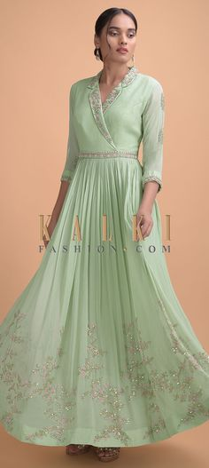 Acadia Green Indowestern Gown With Embellished Lapel Collar Neckline Online – Kalki Fashion Indian Wedding Gowns, Indian Gowns Dresses, Indian Bridal Fashion, Designer Party Wear Dresses, Indian Designer Outfits, Long Gown Dress, The Dress, Simple Gown Design, Green Outfits For Women