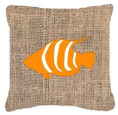 Fish Burlap Indoor/Outdoor Throw Pillow
