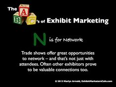 The ABC's of Exhibit Marketing: N is for Network ~ Learn more about all aspects of exhibit marketing in this series of infographics, by Marlys Arnold from the Exhibit Marketers Café