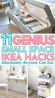 Small Space Storage, Small Space Organization, Home Organization, Extra Storage, Organizing, Small Space Bedroom, Small Space Living, Diy Hacks, Ikea Hacks