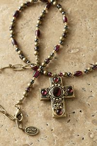 Garnets Small Gemstone Cross Necklace $85.00 http://www.celebrateyourfaith.com/Garnets-Small-Gemstone-Cross-Necklace-P907C847.cfm