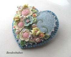 Felt Heart Brooch / Felt Heart Pin