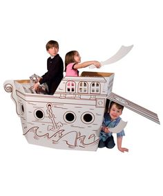 Sail the seven seas in this Pirate Ship Play Structure. Thick cardboard, easy to put together, stores flat and stands up to active kids!