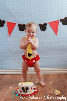 www.facebook.com/JeniJPhotography one year old boy, smash cake, mickey mouse. tie, diaper cover, banner