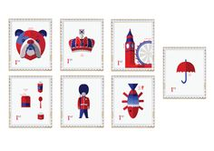 A set of stamps that embraced the staple symbols of the English culture. Kids Rugs, Symbols, Culture, Holiday Decor, Stamps, Cards, Behance, English, Seals