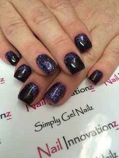 Simple Black and purple glitter nail art. Nail innovationz gel nail products
