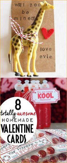 8 Awesome Homemade Valentine Cards.  Creative DIY Valentine Cards for kids.  Animal themed Valentines.  Food themed Valentine's.  Non Candy Valentine Cards.
