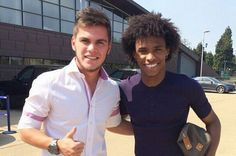Nathan poses for training ground snap with Willian after sealing CHELSEA move...