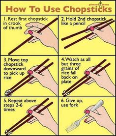I actually do ok with chopsticks. Not sure I hold them 100% right but I manage.