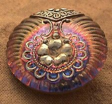 Pretty Czech glass button silver reverse paint