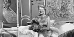 Detail of Peggy Guggenheim on her bed with Alexander Calder's Silver Bedhead (1945–46)