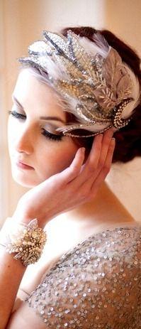 Gatsby flapper feather headpiece