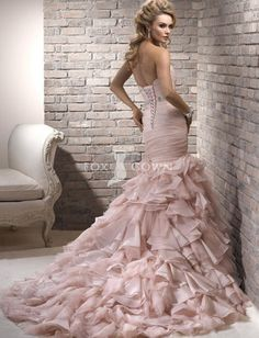 Blush pink Fishtail Wedding Gown with corset detail| Mermaid Wedding Gown