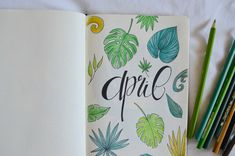 Bujo Addicts of the world, April's here and this only means one thing: a brand new bujo layout. Let's set up my tropical leaves bullet journal together! Bullet Journal Set Up, Bullet Journal Aesthetic, Color Crayons, Tropical Leaves, Just Go, Bujo, Journaling, Things To Come, Lily