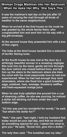 Woman Drags Mailman Into Her Bedroom When He Asks Her Why She Says This funny jokes story lol funny quote funny quotes funny sayings joke hilarious humor stories dirty jokes funny jokes adult jokes