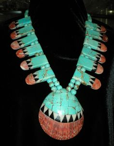 Antique Native American Turquoise Necklace Spondylus Shell Onyx Jet Inlay Navajo