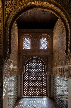 Moorish design in the Nasrid Palace of Granada, Spain
