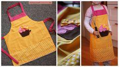 Von mir entworfene und erstellte Nähanleitung und Schnittmuster für eine DIY Kinderschürze / Backschürze / Kochschürze mit süßer Muffin-Applikation und Schleife.  Für die Schule oder den Kindergarten, In der Adventszeit beim Plätzchenbacken, Beim Basteln oder Malen um nicht schmutzig zu werden, oder auch einfach nur beim Helfen in Mamas Küche ... so eine Schürze kann man einfach immer gebrauchen :)  Tolle Verarbeitung! Die Schürze wird 2-lagig genäht und schützt dadurch besonders gut ...