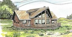 The Aspen is a two story, cabin style house plan with 1987 total living square feet. This design employs butt and pass wall construction. This richly windowed contemporary cabin home plan has a wide rear deck.
