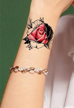 Unique Pink Rose Arm Tattoo Ideas for Women - Realistic Black Geometric Triangle. Unique Pink Rose Arm Tattoo Ideas for Women - Realistic Black Geometric Triangle Outline Watercolor Floral Flower Bi Wrist Tattoos For Women, Small Wrist Tattoos, Tattoo Designs For Women, Tattoos For Guys, Arm Tattoos For Women Upper, Cover Up Tattoos For Women, Woman Arm Tattoos, Rose Tattoos For Girls, Black Tattoo Cover Up