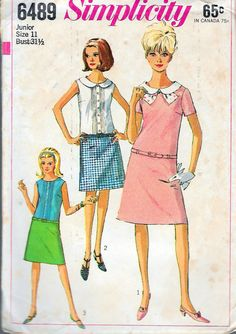 """Vintage 1966 Simplicity 6489  Juniors Mod One-Piece Dress Sewing Pattern Size 11 Bust 31 1/2"""" by Recycledelic1 on Etsy"""