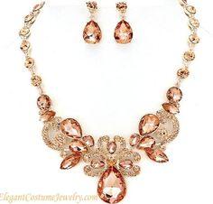 Peach Crystal Necklace Set Chunky Elegant Prom Bridal Bridesmaid