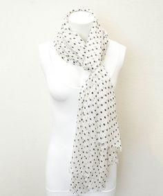 Look at this #zulilyfind! White & Black Polka Dot Scarf by Leto Collection #zulilyfinds