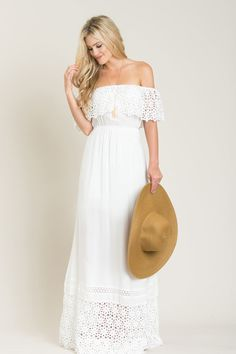 Brooke White Off the Shoulder Lace Maxi Dress
