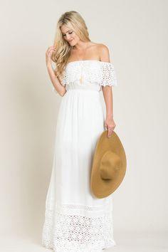 Brooke White Off the Shoulder Lace Maxi Dress - Morning Lavender