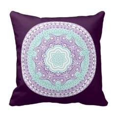 Such a fresh luxurious look this beautiful medieval style floral motif in turquoise/teal, purple and white colors. Bound to brighten up any room in your home.