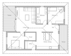 Small house plan, two bedrooms, suitable to narrow lot, affordable ...