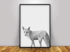 Fox Print, Fox Poster, Wildfile print, Fox animal print, printable art, Woodland Wall Art, animal print, Black and White Photography by PrintmyInk on Etsy