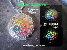 Rainbow Mystic Glow Lockets ™ Brought to you by the Original Glow Lockets ™ Now comes on link chain!Wear a glowing rainbow around your neck! So bright and pretty, the colors blend together perfectly forming a glow in the dark rainbow!My Glow Lockets ™ wil Cute Jewelry, Jewelry Accessories, Unique Jewelry, Jewlery, Vintage Jewellery, Jewelry Necklaces, Magical Jewelry, Fantasy Jewelry, Mystic