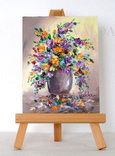 Mixed Flowers. 3x4inches original oil painting by valdasfineart