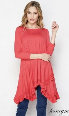 181306228c1269 Tatum PLUS SIZE Bohemian Ruffle Hem Blouse In Coral Dress Shirts For Women,  Casual Dresses