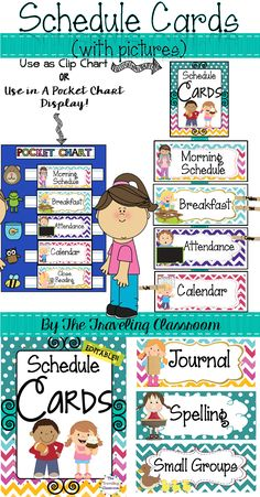 Schedule cards for the classroom & at home!  Over 150+ EDITABLE cards with and without pictures!  Super Cute!!$   #classroom organization  #chevron decor