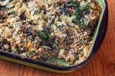 Cheesy  Wild Rice and Kale Casserole- easy to veganize