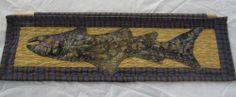 Horizontal Fish Wall Hanging Quilt Skinny Quilt in Gold and Plaids