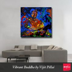 Vibrant Buddha by Vijit Pillai - http://www.artflute.com/artworks/view/vibrant-buddha  Take home the Divine Being for Peace and Tranquility   #homedecor #art #walls #NoMoreEmptyWalls #buddha #divine #peace #meditation #tranquility #calm