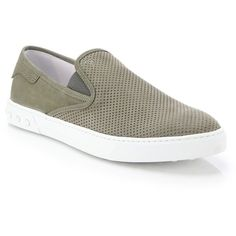 Tod's Perforated Slip-on Sneakers : Tod's Shoes ($500) ❤ liked on Polyvore featuring men's fashion, men's shoes, men's sneakers, apparel & accessories, mens perforated shoes, mens slipon shoes, mens nubuck shoes, mens slip on shoes and mens slip on sneakers