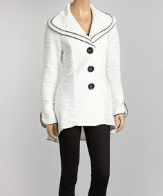 Take a look at this Ivory Wave Hi-Low Jacket by Come N See on #zulily today!  ZULILY HAS BECOME MY FAVORITE WAY TO SHOP!  I just ordered this today.