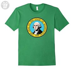 Mens State of Washington Flag Funny Cool Summer Travel T-Shirt 3XL Grass - Funny shirts (*Amazon Partner-Link)