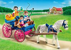 Playmobil Pony Ranch - Horse-Drawn Carriage and thousands more of the very best toys at Fat Brain Toys. Hitch the horses to the carriage, pack the food basket - a picnic trip is underway! Play Mobile, Horse Carriage, Horse Stables, Baby Doll Nursery, Baby Dolls, Playmobil Sets, Horse Drawn Wagon, Presents For Kids, Horses