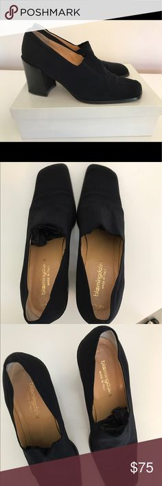 Bloomingdale's black fabric heels Great condition, very comfortable black fabric( perfect for work and going out.  Comes with original box. Bloomingdale's Shoes Heels