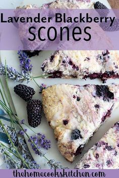 Light and subtle, crispy on the outside and soft in the middle lavender blackberry scones with lemon glaze! These blackberry scones are perfect for afternoon tea, bridal parties, baby showers or everyday snack! Tea Recipes, Brunch Recipes, Baking Recipes, Breakfast Recipes, Dessert Recipes, Scone Recipes, Breakfast Bars, Blackberry Scones, Blackberry Recipes